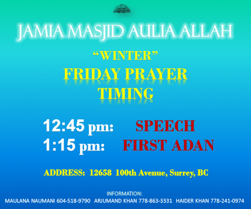 Winter Juma Timing
